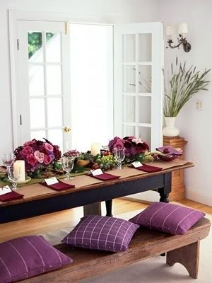 Accents of plum for spring sheila zeller interiors for Como e dining room em portugues
