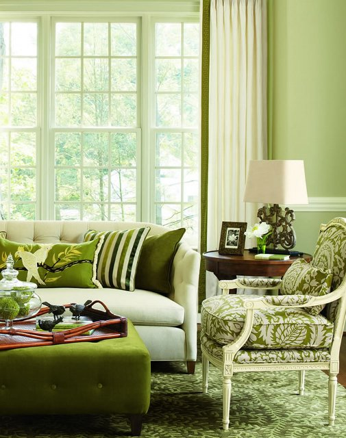 And green is for sheila zeller interiors for Green couch living room ideas