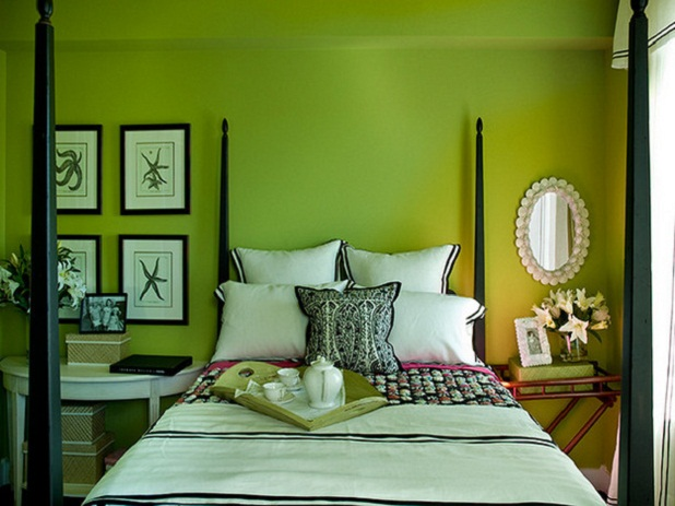 And green is for sheila zeller interiors for Bright green bedroom ideas