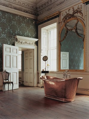Bathroom Wallpaper on Copper Tub   French Bath Iii   Green Wallpaper