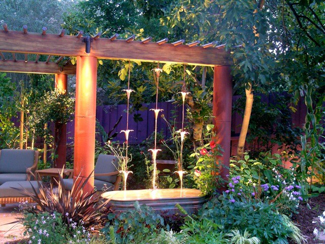 Garden and patio on pinterest water features rain for Garden waterfalls do it yourself