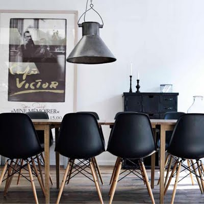 Dining Room on Eames Black Eiffel Chairs Around Dining Room Table