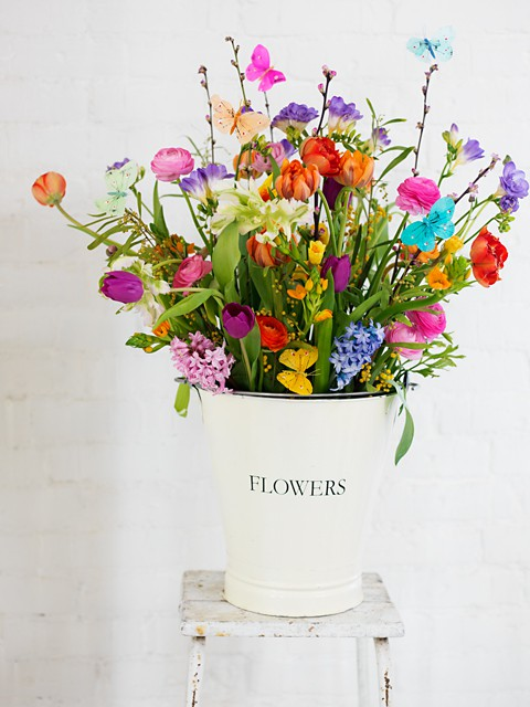 flowers in enamel pail