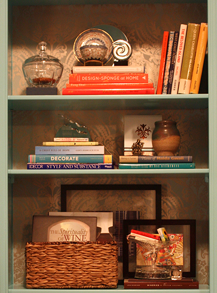 Bookcase Reveal: Painted, Papered & Styled