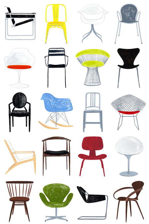 Line art chair quotes for Iconic mid century modern furniture