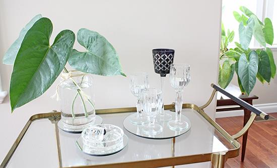 Large Leaves Clear Vase Bar Cart Vignette