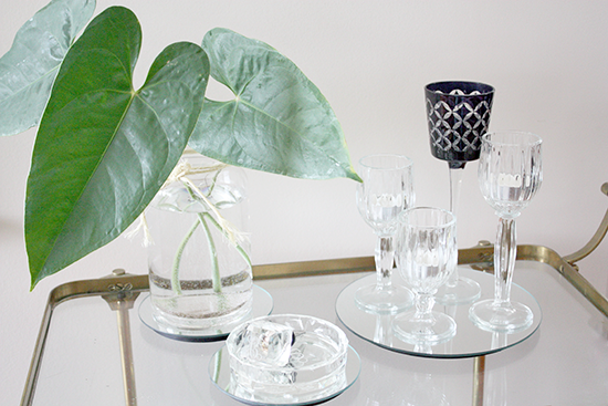 Large Leaves Clear Vase Table Vignette