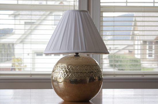 Metal Lamp & White Cotton Shade