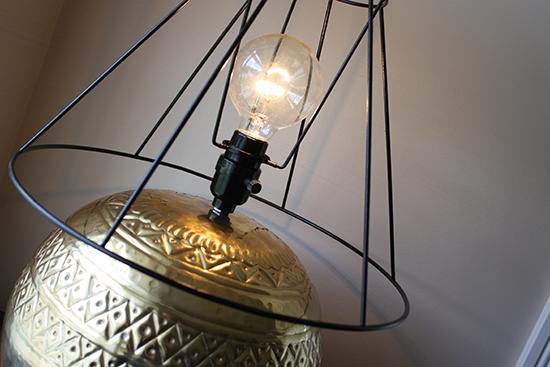 Round 40 watt bulb in Skeleton Lamp Shade