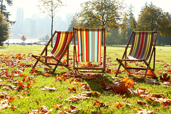 Multi-coloured Striped Deck Chairs
