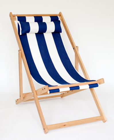Blue &amp; White Striped Deck Chair