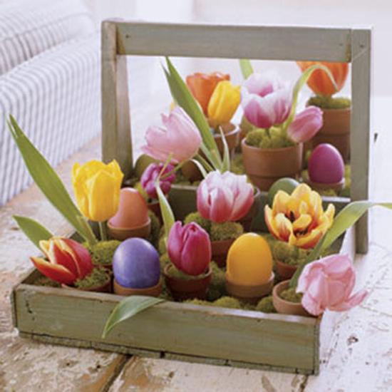 Rustic Tray Centerpiece : Tulips for easter diy ideas sheila zeller interiors