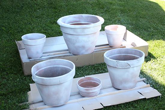 Primed terracotta plant pots