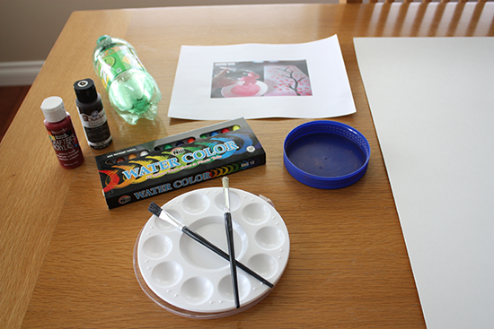 Art Supplies for Cherry Blossom Painting