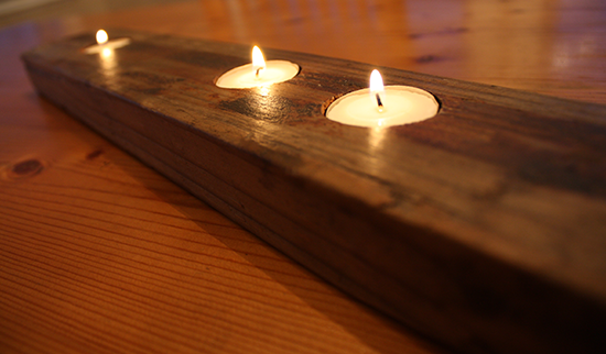 Reclaimed Wood Tea Light Valet