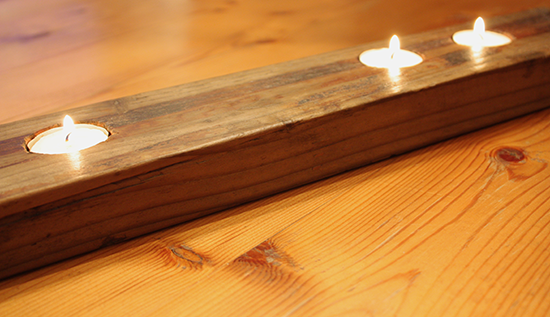 Repurposed Rusty 2x4 Tea Light Holder