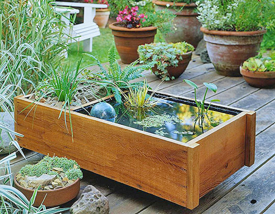 Wooden Container Water Garden