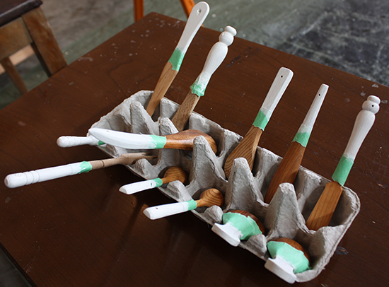 Prep for painting wooden utensils