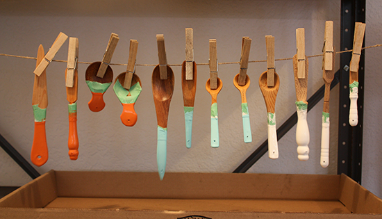 Dip Painting Wooden Utensils