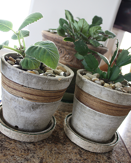 DIY twine wrapped planter tray project