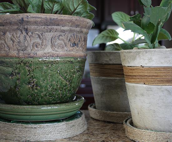 DIY twine wrapped planter trays