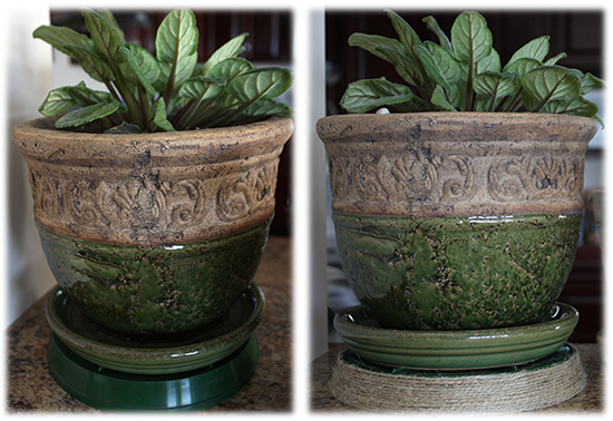 Jute wrapped planter tray