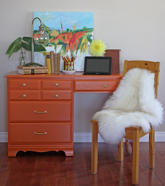 Desk Painted in Orange - Para Paints P5072-85 'Sweet & Juicy'