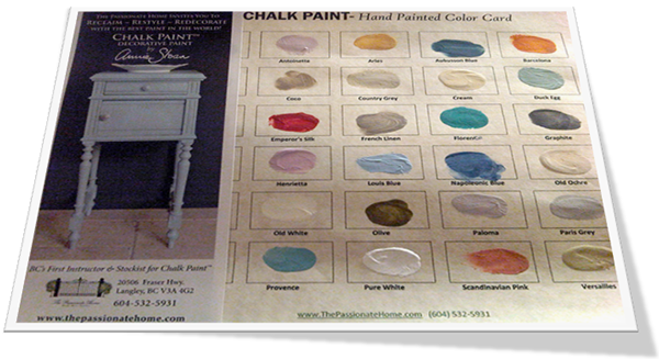 Annie Sloan Chalk Paint - Hand Painted Colour Card