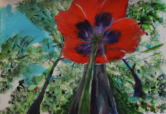 Ursula Rettich Acrylic on Canvas Poppy - Sea to Canvas