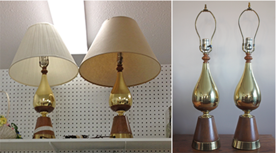 Thrifted MCM Brass & Walnut Lamps