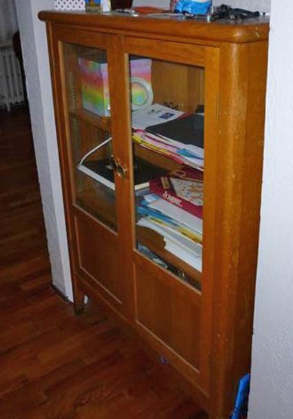Solid Oak Glass Door Cabinet