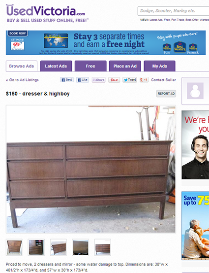 Used Victoria - MCM Dresser, Mirror & Highboy