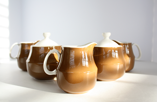 Mikasa Cera Stone Cream &amp; Sugar Sets by Jonas Roberts, c.1960s, D1800 Brown
