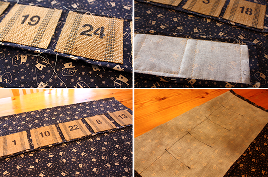 Vintage Upholstery Webbing Advent Calendar - Sewing Pockets Together
