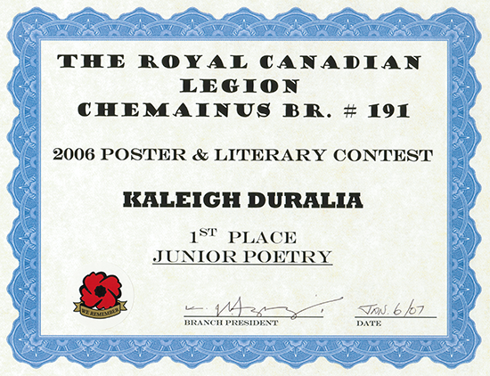 Legion Poetry Contest - Chemainus Br 191 (Great Grandpa Alvin Poem) - 550