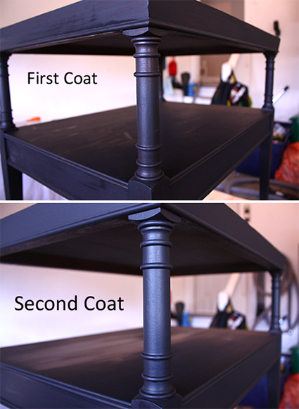 Leather Top End Table - 1st & 2nd Coats Paint