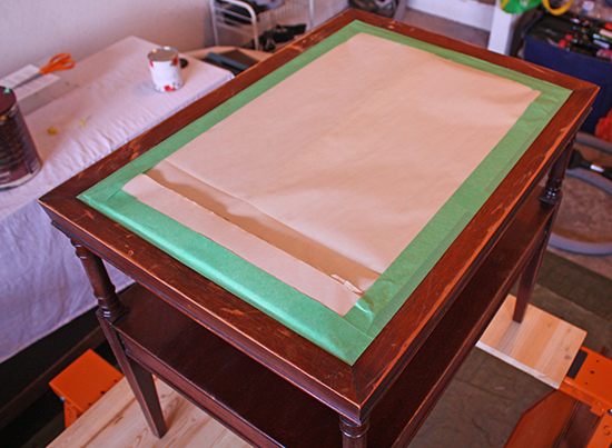 Leather Top End Table - Tabletop Prep 2