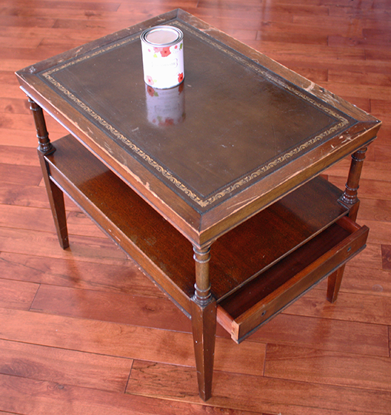 Leather Top Table Makeover - Before