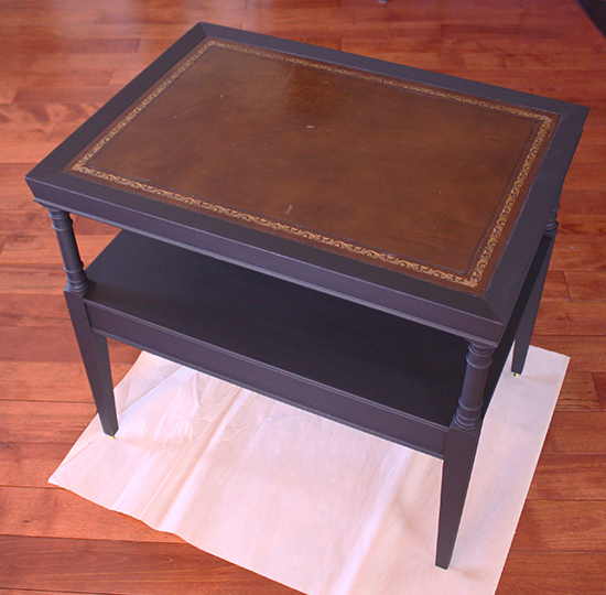 Leather Top Table Makeover - In Progress - Chalk Paint Only