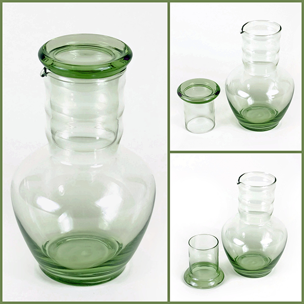 Art Deco Dunbar Glass Bedside Water Carafe - Green