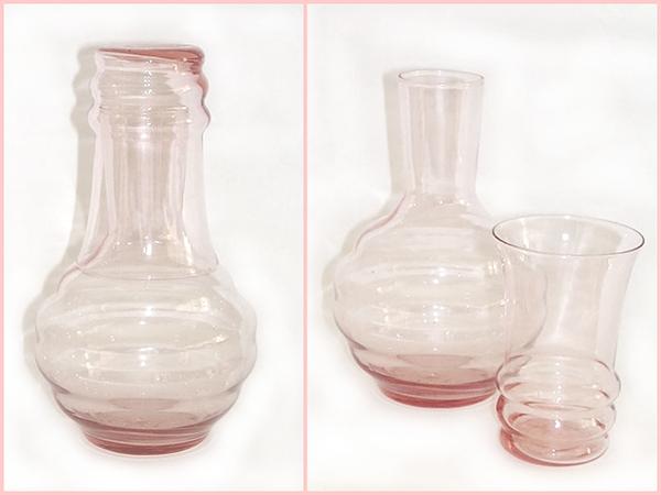 Dunbar Glass Pink Tumble Up Set