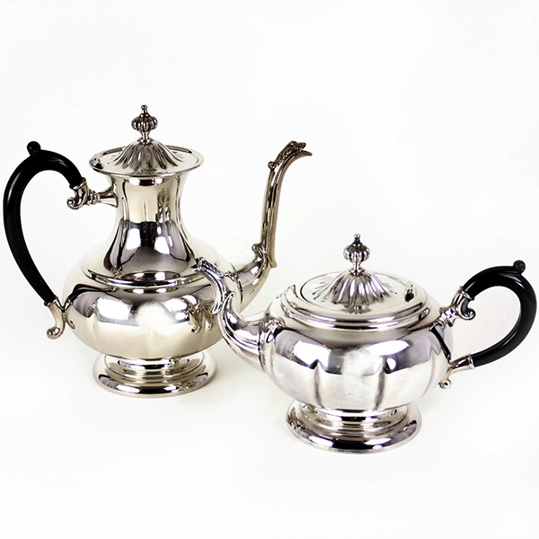 Tea & Coffee Pots, Haddon Hall Silver Plate, 5-pc