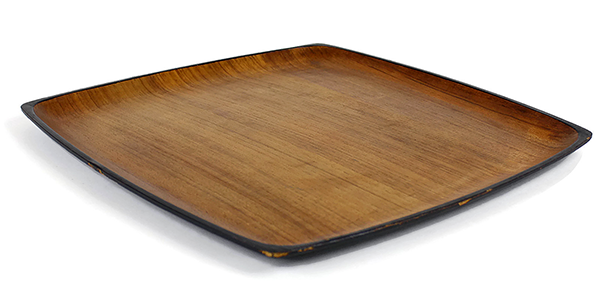 Contempo Teak Tray, Square, Black Enamel Back