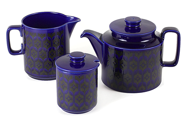 Hornsea C&S & Tea Pot, Cobalt Blue
