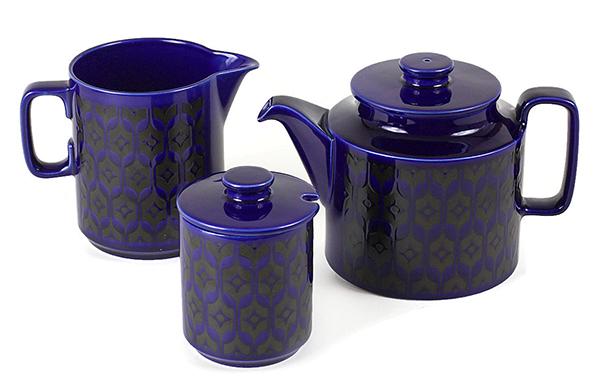 Hornsea C&S & Tea Pot, Cobalt Blue