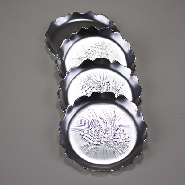 Aluminum Pinecone Coasters (x4), Millbrook Industries, Canada