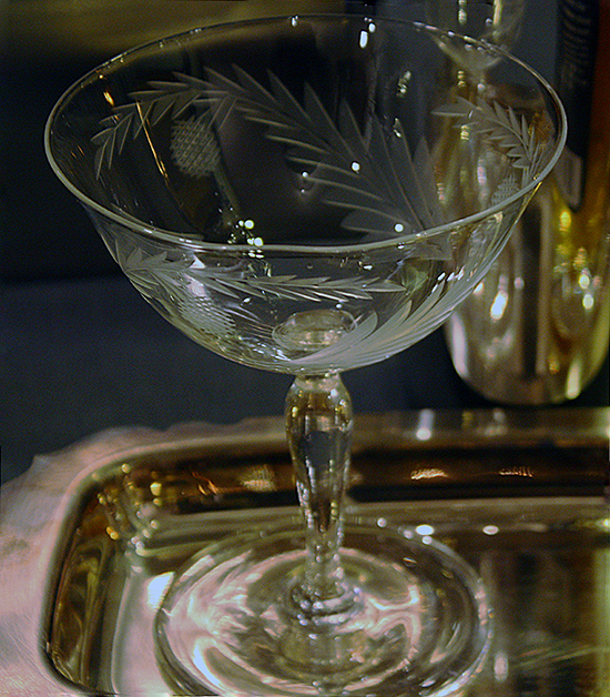 Etched Vintage Crystal Coupe - Audrey Would