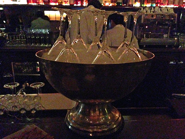 Silver Punch Bowl, Martini Glasses on Ice