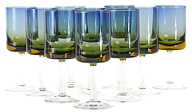 Blue Amberina, Bluerina Cordial Glasses, Audrey Would