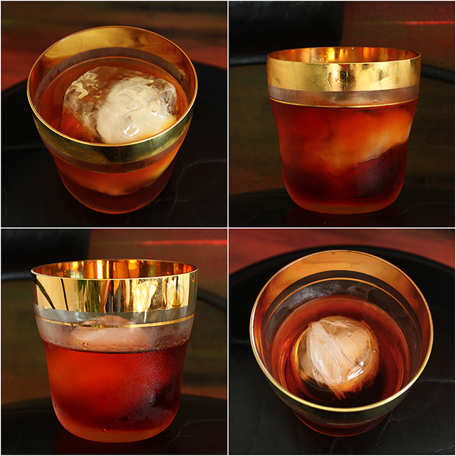 Negroni, Vintage Double Rocks Glass, Hand Carved Ice Cubes